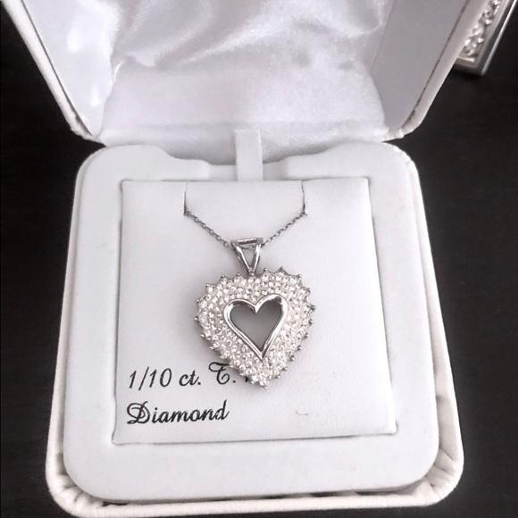 1 Carat T.W. Diamond Silver Heart Pendant Necklace